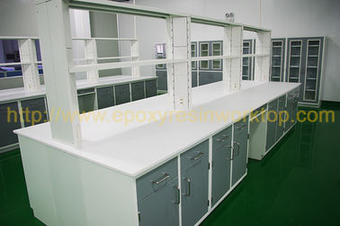 Colorful Epoxy Resin Worktop, Lab Island Bench Dengan Radius / Bevel Edge